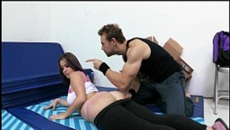 Big-booty yoga amateur is put through boot camp and spanked